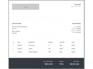 Bootstrap Snippet BS4 clean & simple invoice template using HTML CSS