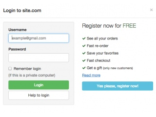 Login form in modal