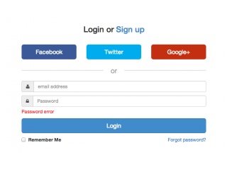 Responsive login with social buttons