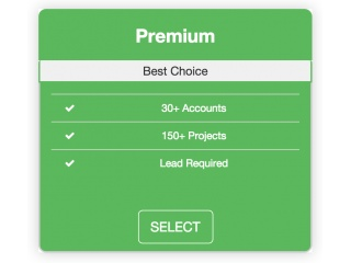 Pricing table hover effect
