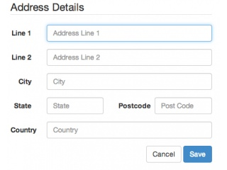 Address Details Modal Form