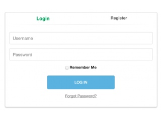 Login and Register tabbed form
