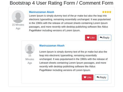 Bootstrap 4 User Rating Form / Comment Form