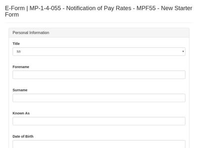 MPF55 - Notification of Pay Rates