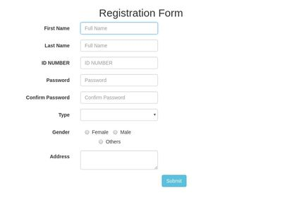horizontal Registration Form