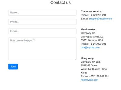 Simple contact us page bootstrap 4