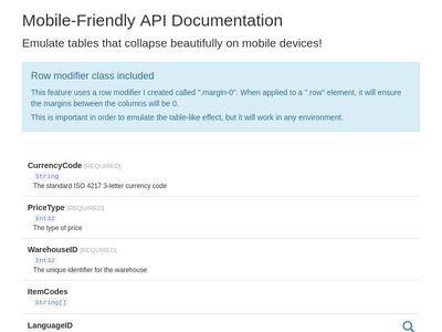 Mobile-Friendly API Documentation