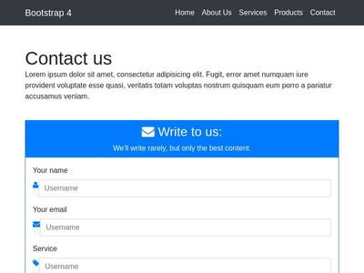 Bootstrap 4 Contact Page