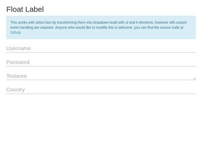 Float Label with select box Jquery