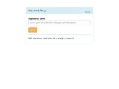 reset password form
