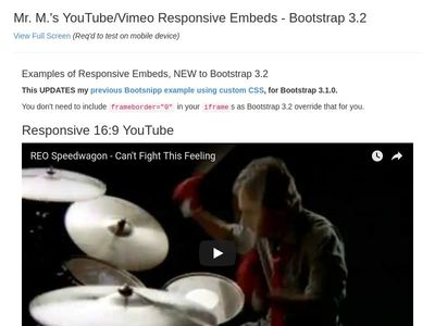 YouTube/Vimeo Responsive Embeds updated