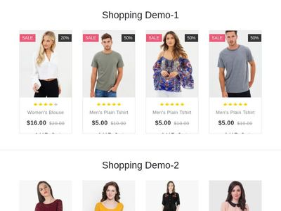 Product Shopping Grid Styles