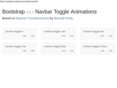 Bootstrap 3.3.7 Navbar Toggle Animations