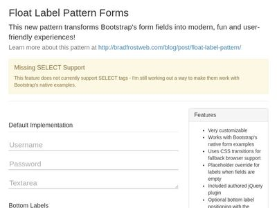 Float Label Pattern Forms