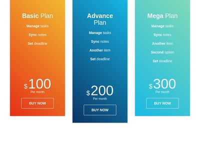 Pricing table color