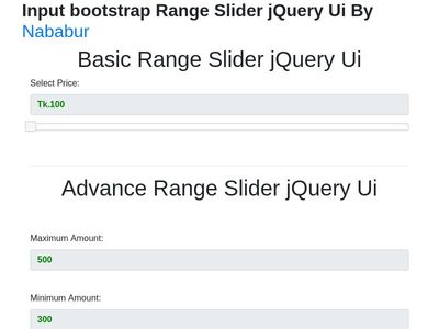 Bootstrap Slider Examples
