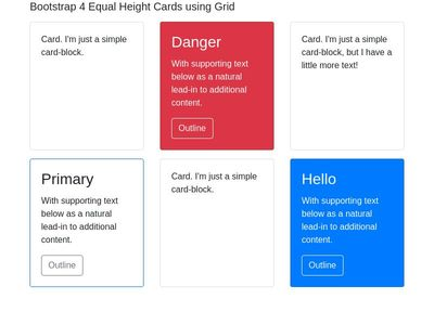 Bootstrap 4 Equal Height Cards using Grid