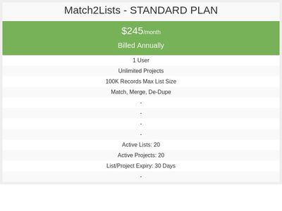 Match2Lists - Standard Plan