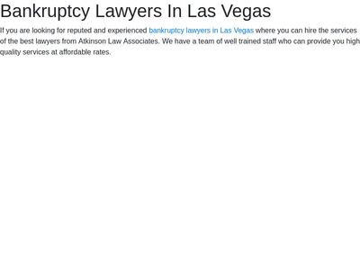 Bankruptcy Lawyers In Las Vegas