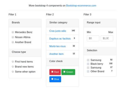 Filter elements, sidebar filter panel bootstrap 4