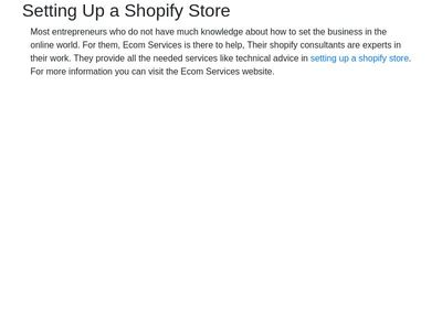 Setting Up a Shopify Store