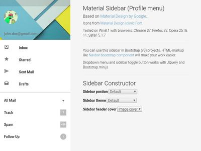 Bootstrap Snippet Sidebar using HTML CSS jQuery