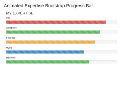 Animated Expertise Bootstrap Progress Bar