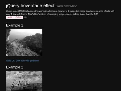 jQuery hover/fade effect B&W
