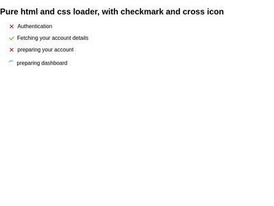 Pure css loader and icon