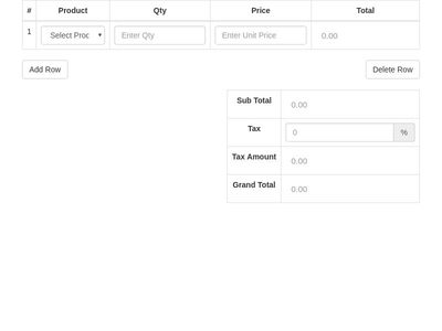 Product Invoice Dynamic Table with Alert