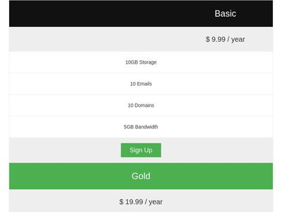 Bootstrap Responsive Pricing Tables
