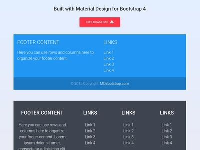 Bootstrap Footer - Material Design & Bootstrap 4
