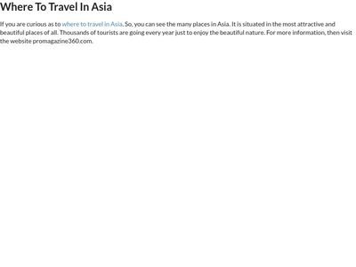 Best Travel in Asia
