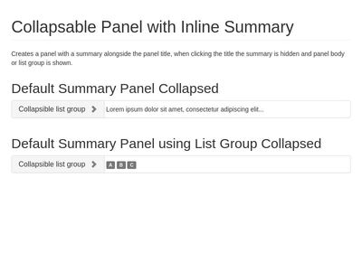 Collapsable Panel with Inline Summary