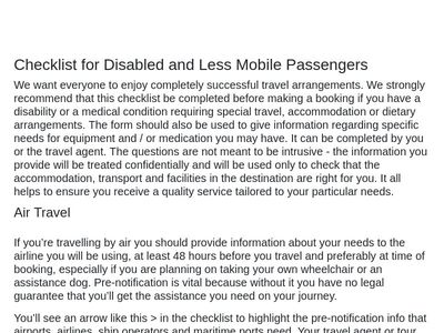 Checklist for Disabled and Less Mobile Passengers