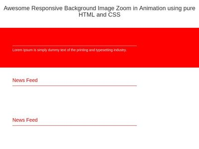 Awesome Responsive Background Image Zoom in Animation using pure HTML and CSS