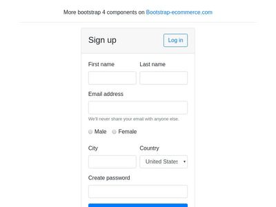 Sign up, register form bootstrap 4, bootstrap4 registration form card
