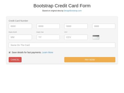 Bootstrap Snippet Credit Card Form (Bootstrap 3) using HTML ...