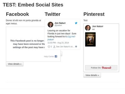 TEST: Embed Social Sites  B 2.3.2