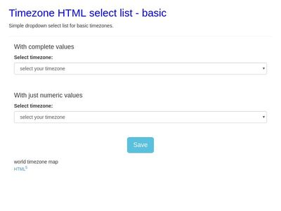 Timezone HTML <select> list - basic