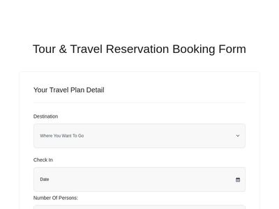 Bootstrap Snippet Tour & Travel Reservation Booking Form - Bootstrap