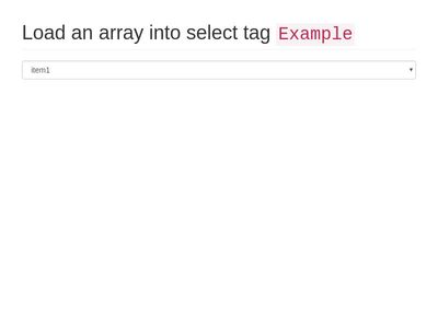 Load an array into select tag