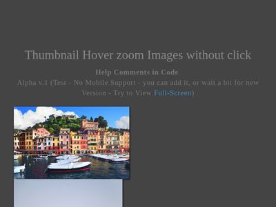 Thumbnail Hover zoom Images without click | Alpha v.1 (Test)