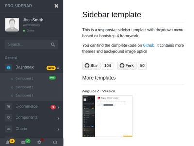 Pro Sidebar Template with Bootstrap 4