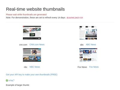Real-time website thumbnails