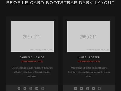 Profile Card bootstrap dark layout