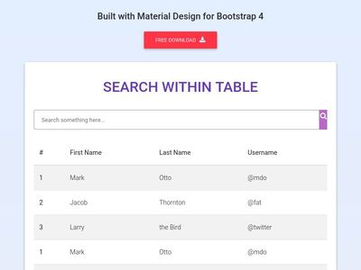 Bootstrap Table - Material Design & Bootstrap 4