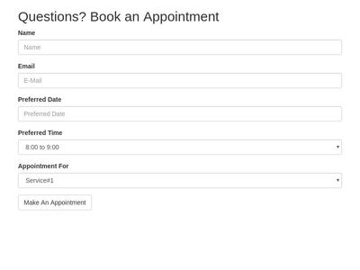 Code Snippets similar to Appointment REQUEST