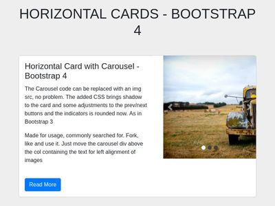 Horizontal cards - Bootstrap 4