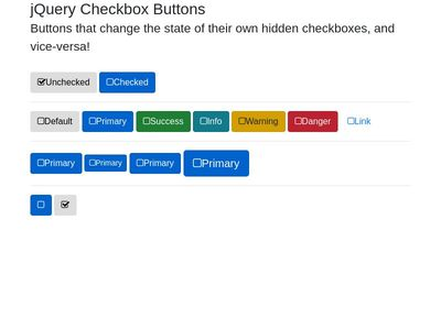 jQuery Checkbox Buttons - Bootstrap 4